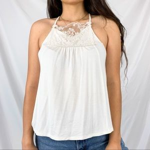 American Eagle Soft & Sexy White Lace Tank Top S